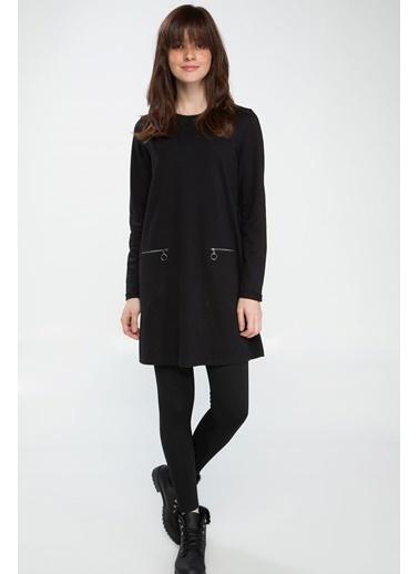 DeFacto Fermuar Detaylı Basic Tunik Siyah